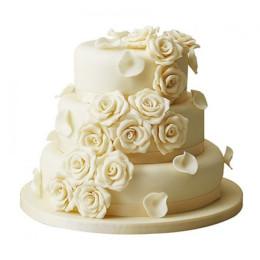 3 Tier Off White Rose Wedding Cake - 5 KG