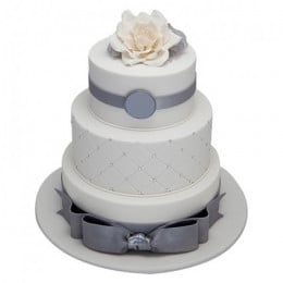 3 Tier Silver Anniversary Cake - 5 KG