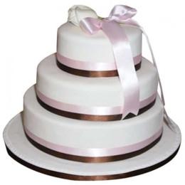 3 Tier White Fondant Cake - 5 KG