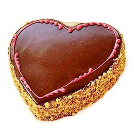 Chocolaty Heart Cake - 500 Gm