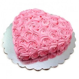Pink Flower Heart Cake - 500 Gm