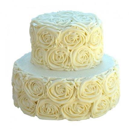 2 Tier White Rose Cake - 2 KG