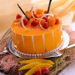 Mango Cake With Cherries - 500 Gm
