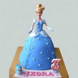 Blue Fondant Barbie Cake - 2 KG
