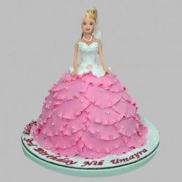White N Pink Barbie Cake - 2 KG