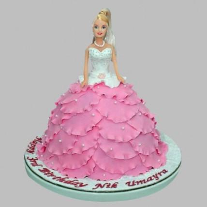 White N Pink Barbie Cake - 2 KG