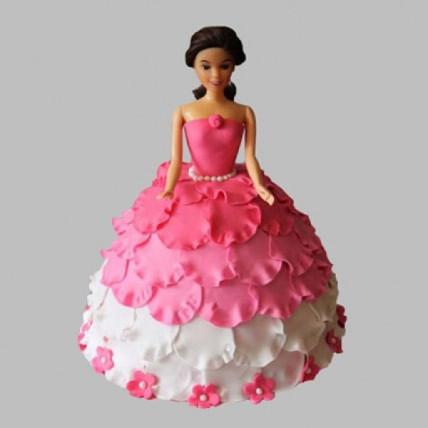 White N Pink Floral Barbie Cake - 2 KG