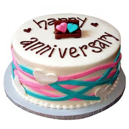 Colorful Anniversary Fondant Cake - 1.5 kg