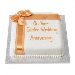 Golden Celebration Fondant Cake - 1 KG