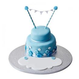 White N Blue Fondant Cake - 1 KG