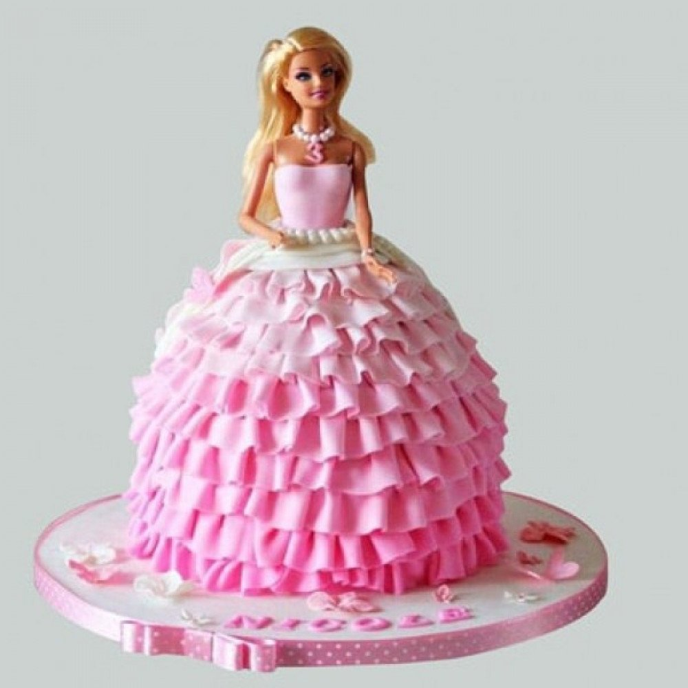 Prime 4 Kg Pink Dress Barbie Cake Is A Fondant And It Can Be Ordered In Funny Birthday Cards Online Barepcheapnameinfo