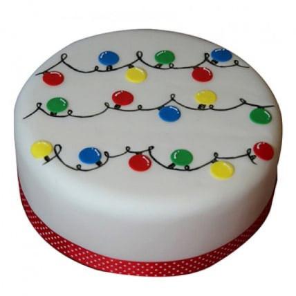 Decorative Christmas Fondant Cake - 500 Gm