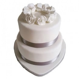 The White Love Fondant Cake - 3 KG