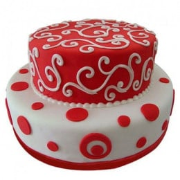 White N Red Fondant Cake - 3 KG