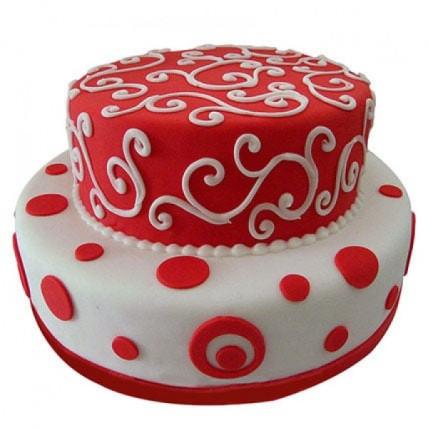 White N Red Fondant Cake - 3 KG