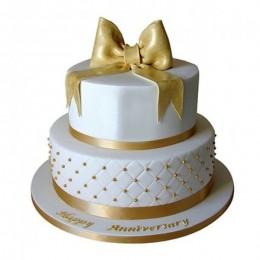 Grand Anniversary Fondant 2 Tier Cake - 4 KG