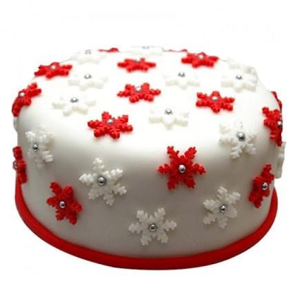 Star Filled Christmas Fondant Cake - 500 Gm