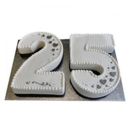 Silver Jubilee Fondant Cake - 3 KG