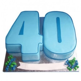 Blue Fondant Cake - 3 KG