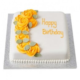 Yellow Roses Fondant Cake - 500 Gm