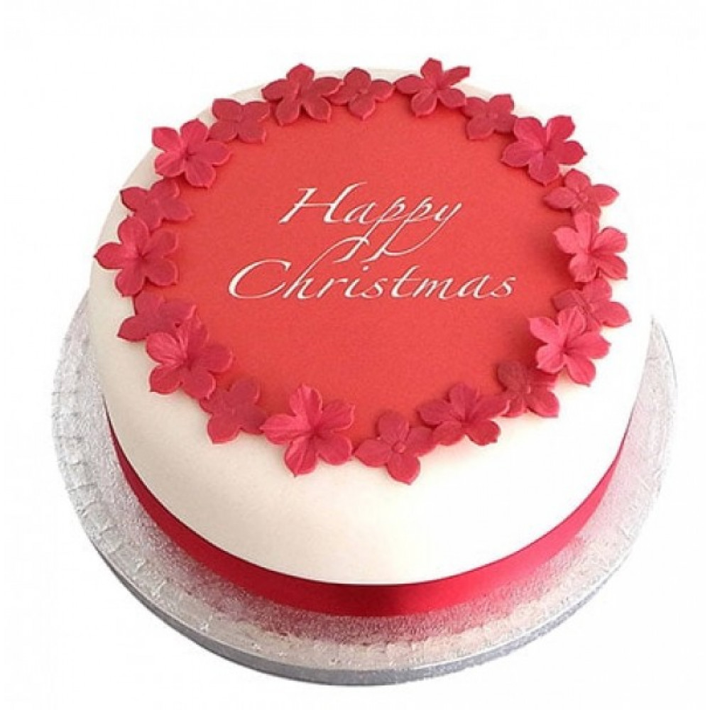 Excellent Red N White Christmas Fondant Cake Red N White Christmas Fondant Funny Birthday Cards Online Alyptdamsfinfo