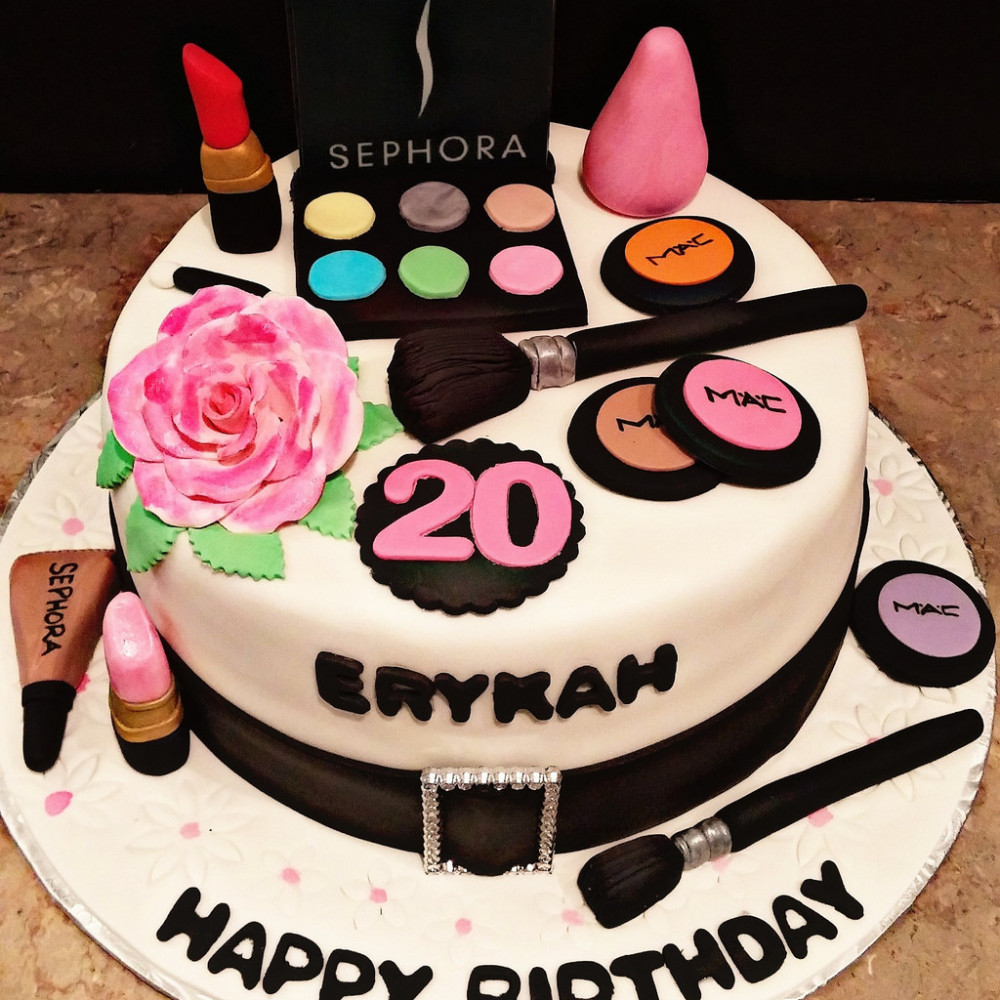 Admirable Make Up Birthday Cake 2 Kg Beautiful Cosmetic Fondant Cake With Birthday Cards Printable Riciscafe Filternl