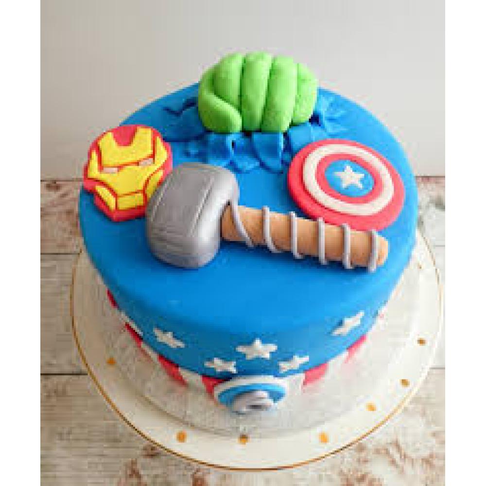 Brilliant Marvel Theme Cake 1 5 Kg Marvel Avenger Hulk Iron Man Thor Personalised Birthday Cards Akebfashionlily Jamesorg