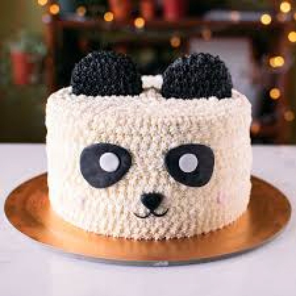 Awesome Panda Birthday Cake 2 Kg Panda Designer Cream Cake With The Ear Funny Birthday Cards Online Aboleapandamsfinfo