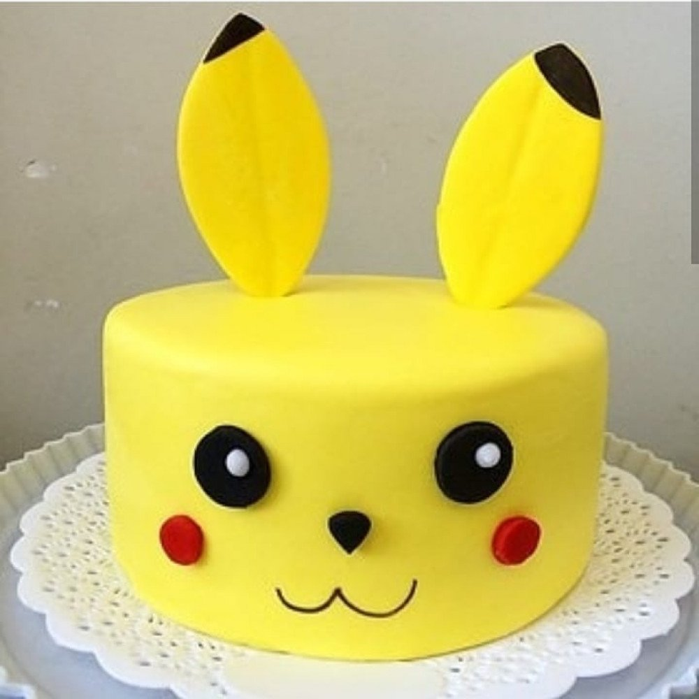 Prime Pokemon Pikachu Birthday Cake 1 Kg Round Fondant Pikachu Face Personalised Birthday Cards Bromeletsinfo