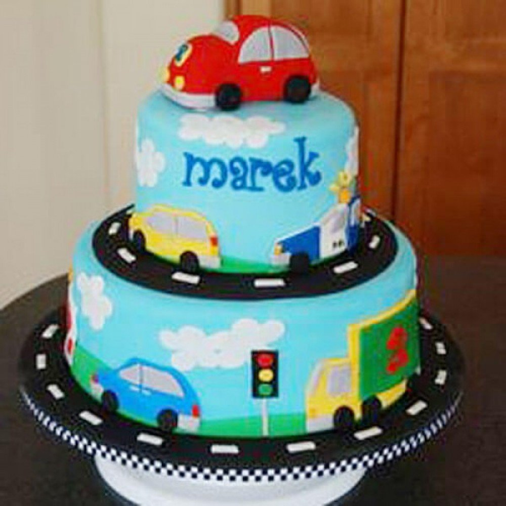 Car On Cake For Kids Who Love Cars
