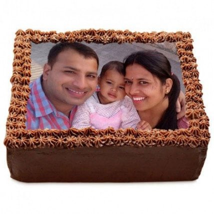 Delicious Chocolate Photo Cake - 500 Gm