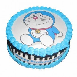 Doraemon Round Photo Cake-0.5 Kg