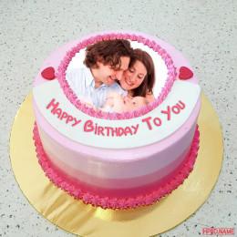 Pink Love Photo Cake-1 Kg