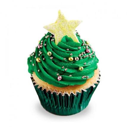 Decorative Christmas Tree Cupcakes-set of 6