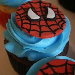 Delicious Spiderman Cupcakes-set of 6