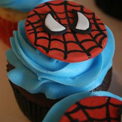 Delicious Spiderman Cupcakes-set of 6