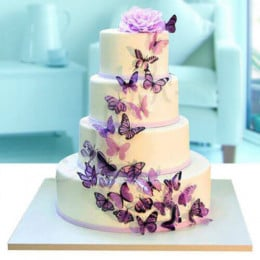 Fourlayer Butterfly Wedding Cake - 6 KG