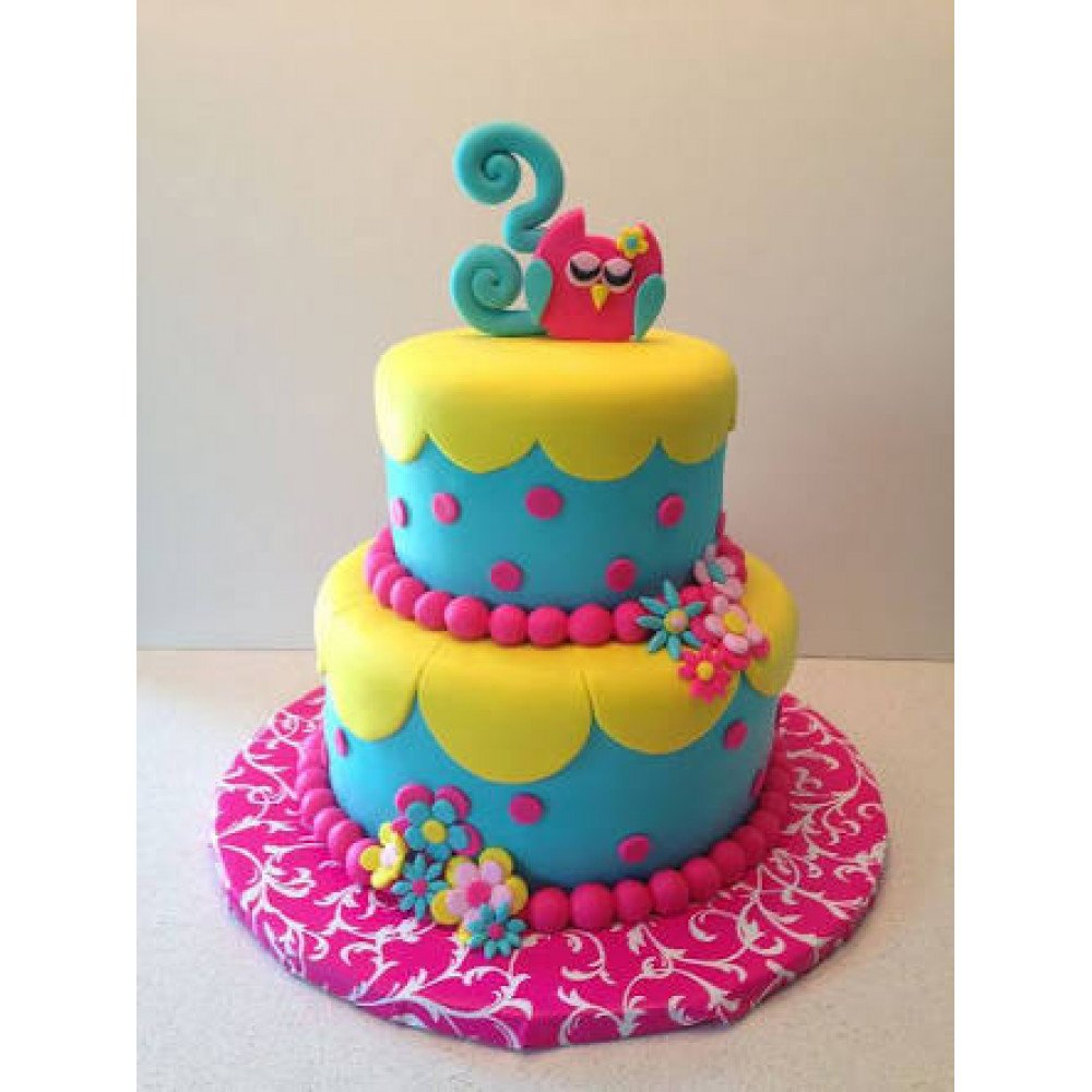 Miraculous Kids Birthday Fondant Cake 4 Kg This Two Floor Cake Will Bring Birthday Cards Printable Riciscafe Filternl