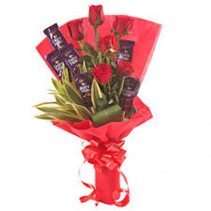 Roses and Dairy Milk Bunch