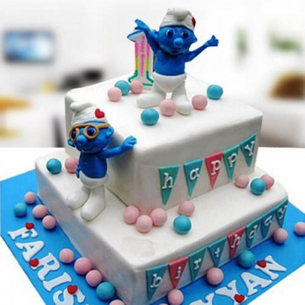 Magnificent Smurfs Birthday Cake Cute Characters From The Movie The Smurfs Personalised Birthday Cards Epsylily Jamesorg