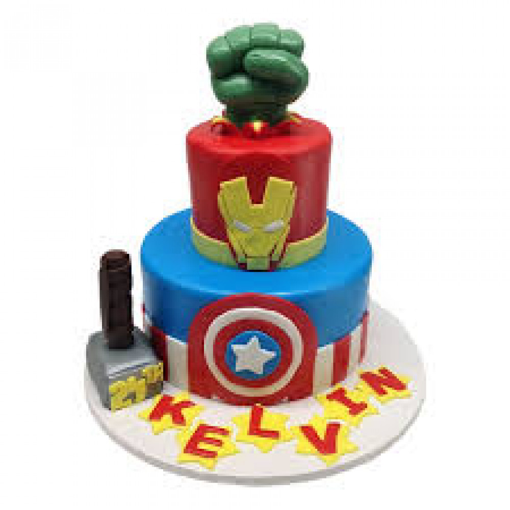 Fantastic Superhero Birthday Cake 4 Kg Hulks Fist Captain America Symbol Personalised Birthday Cards Rectzonderlifede