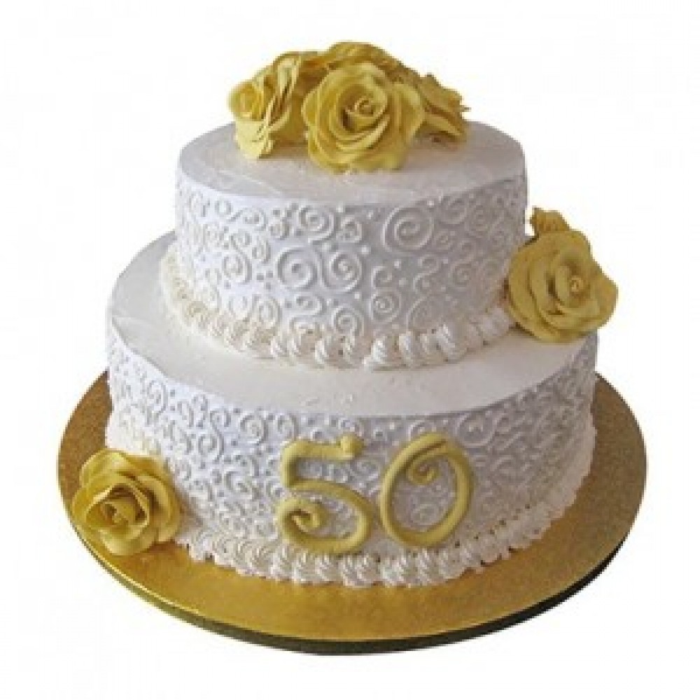 2 Tier 50Th Anniversary Fondant Cake