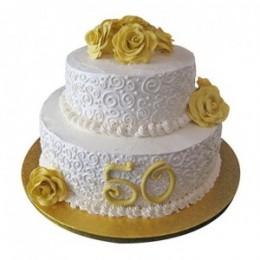 2 Tier 50Th Anniversary Fondant Cake - 4 KG