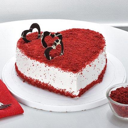Velvety Red Heart Cake-500 Gms