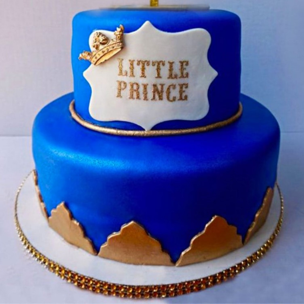 Brilliant Crown Prince Cake 3 Kg 2 Tier Fondant Cake For Your Little Prince Funny Birthday Cards Online Inifodamsfinfo