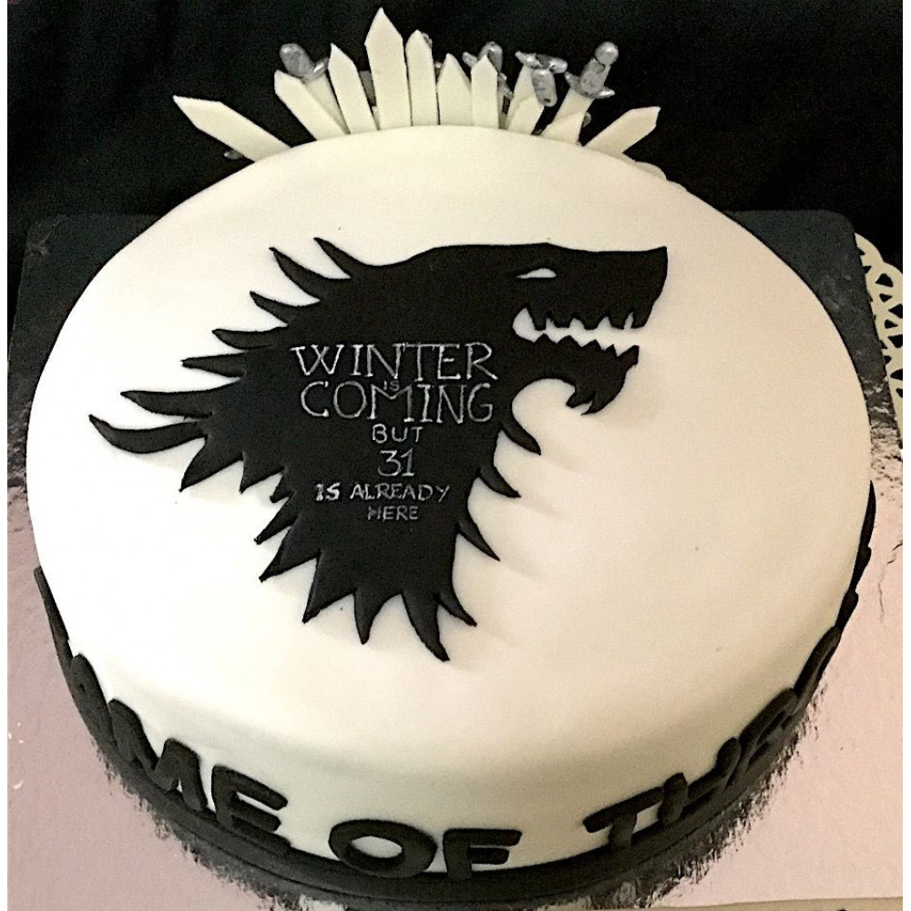 Super Game Of Thrones 500 Gms Winter Is Coming Cake Game Of Thrones Funny Birthday Cards Online Overcheapnameinfo